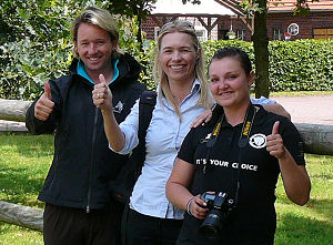 "Morten Wasmuth, Therese Alhaug and Malene Nilssen of the Norwegian equestrian magazine ""Hesteliv""."
