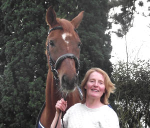 Louise with her dressage horse Dr Brandy.
