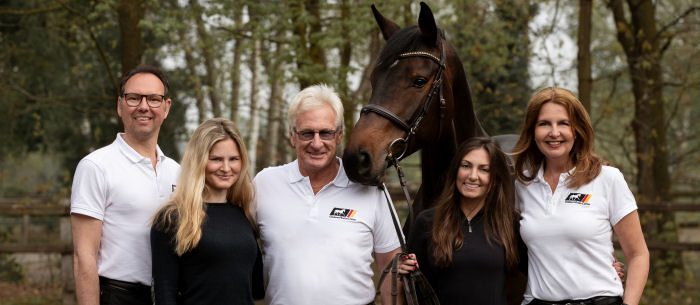 German Horse Center US CollectionThe German Horse Center Team with Frank Madden and his test rider Maggie de Filippo.